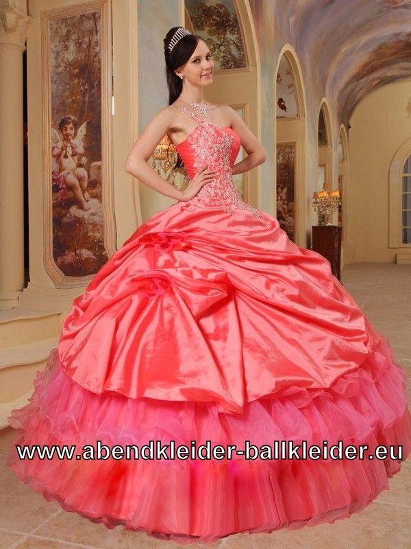 One Shoulder Sissi Kleid Lachs Ballkleid Wolumen