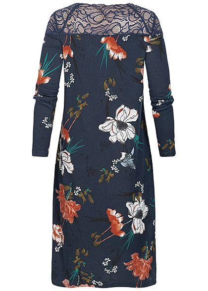 Only Damen Kleid Spitze Oben Florales Muster Night Sky