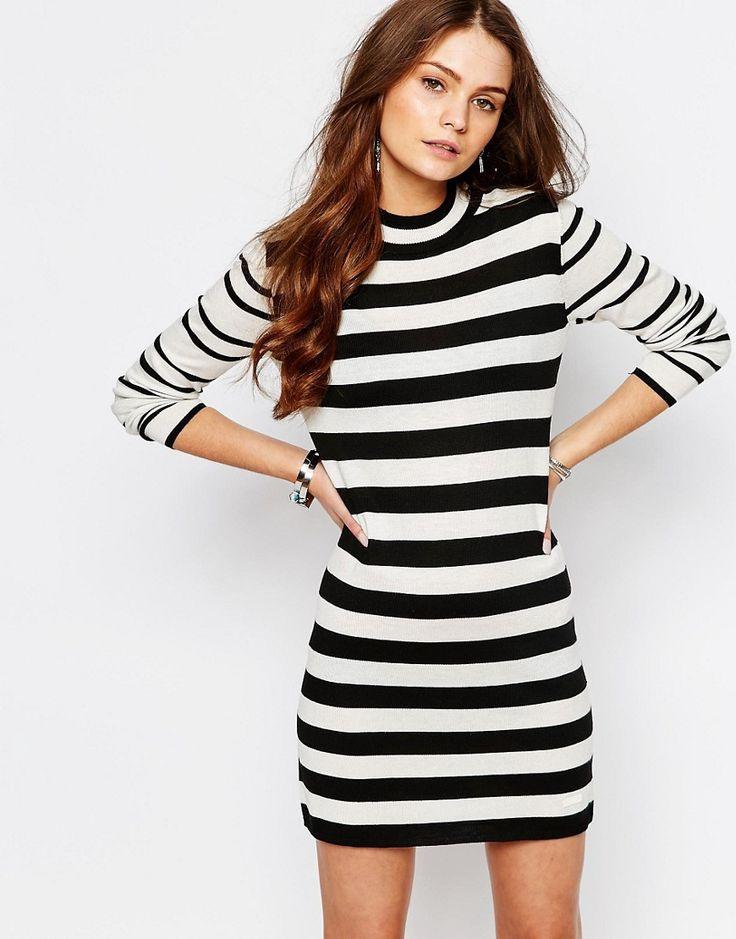 Only  Hochgeschlossenes Kleid Mit Kontraststreifen