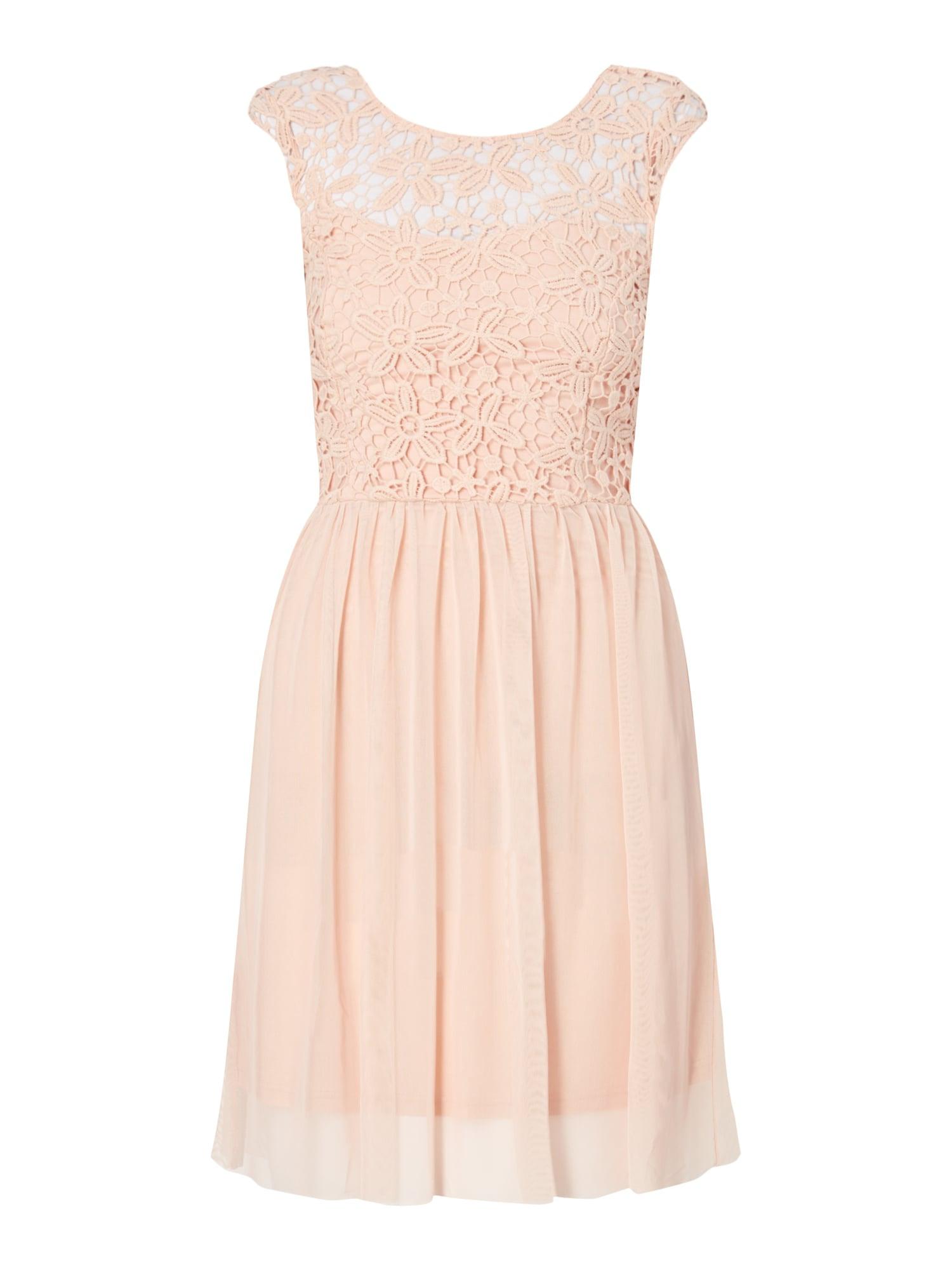 Only Kleid Aus Häkelspitze Und Mesh In Rosé Online Kaufen
