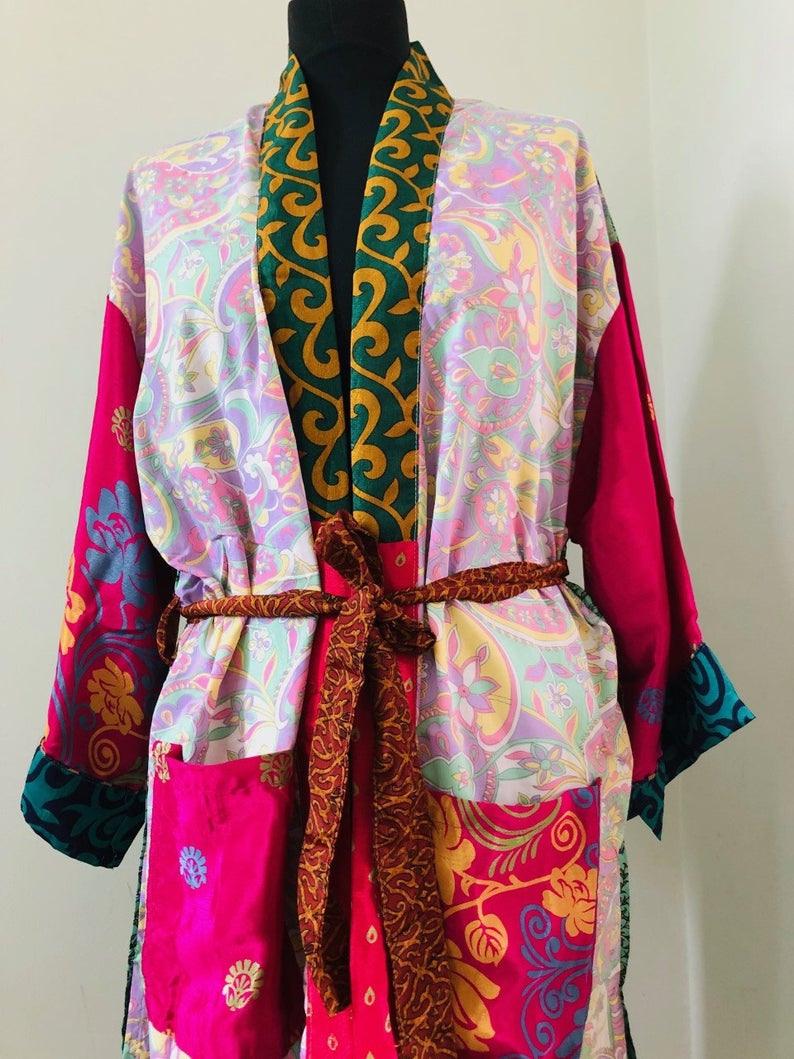 Option E Damen Sari Seidig Gemusterte Patchwork Kimono
