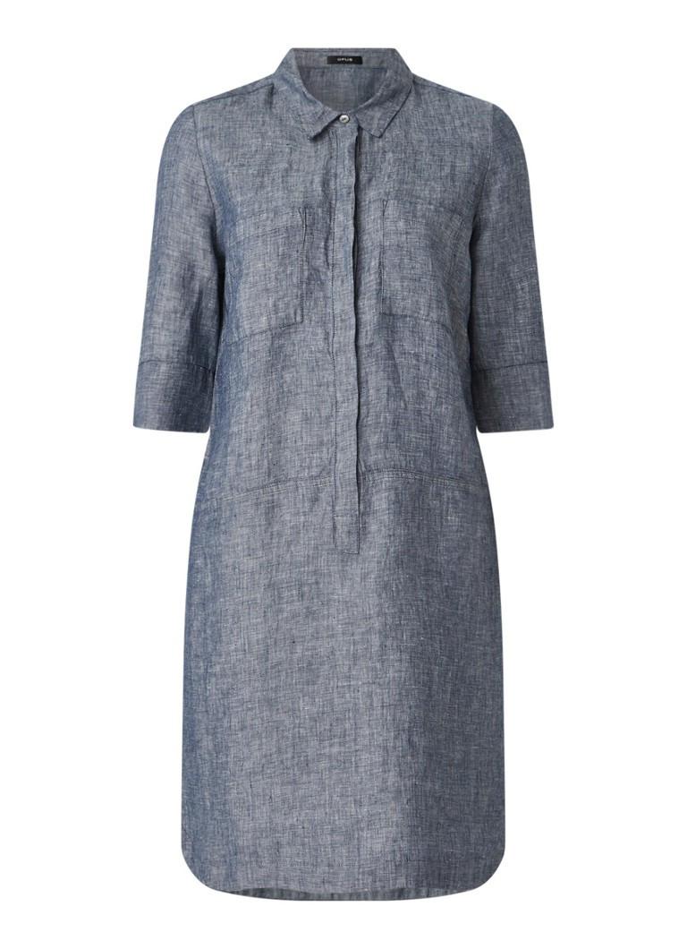 Opus Willmar Mini Blusenkleid Aus Leinen • Blaugrau • De