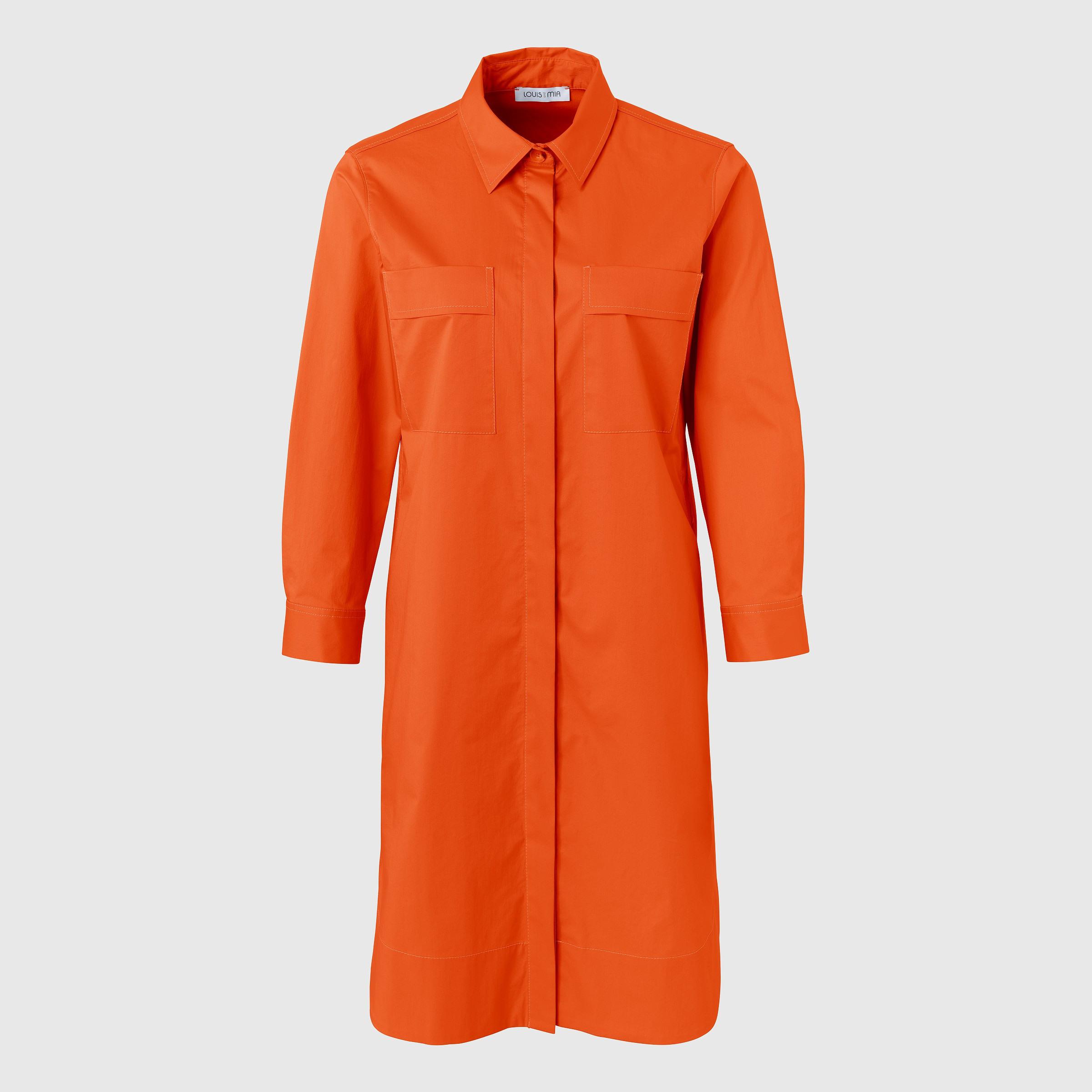 Oranges Hemdblusenkleid Mit Durchgehender Knopfleiste In