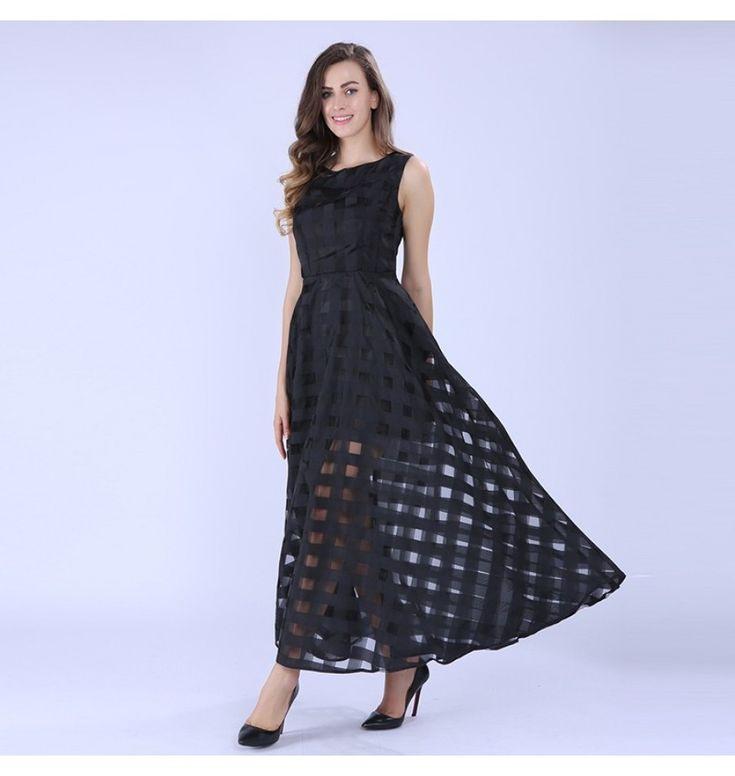 Organza Maxi Sommerkleid 2017  Damen Lange Kleider