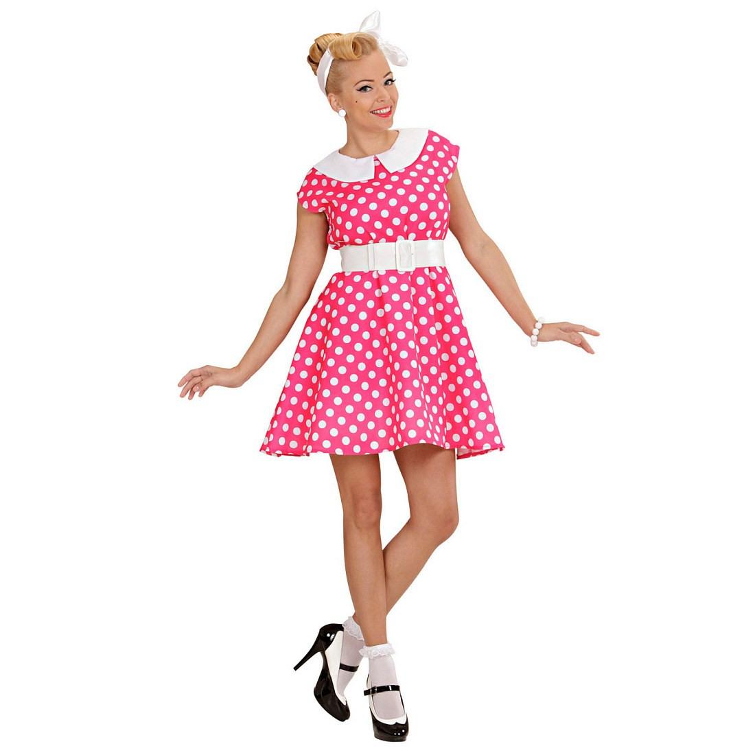 Originelles 50Er Jahre Kleid Mit Petticoat Rosaweiß 2899