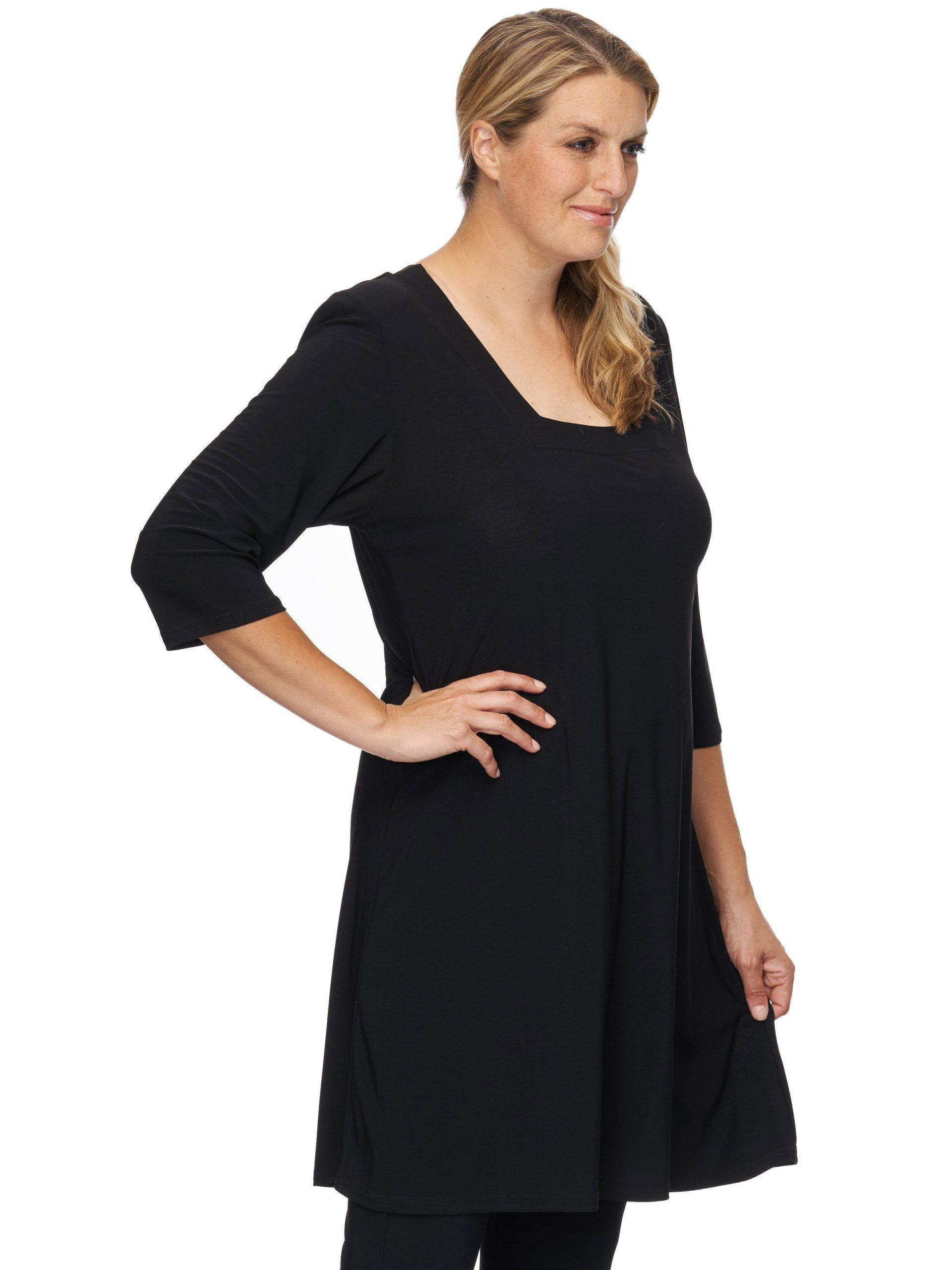 Originelles Tunika Kleid Mit Eckigem Halsausschnitt  Maltex24