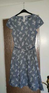 Orsay Kleid Sommerkleid Hellblau Blau Weiß Geblümt 34 Xs