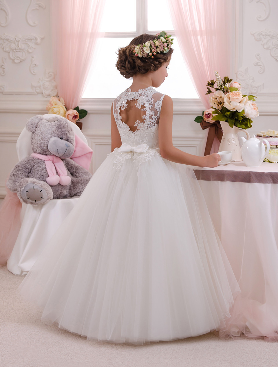 Os706 Blume Mädchen Kleider Loch Ballkleid Weiß Sleeveless