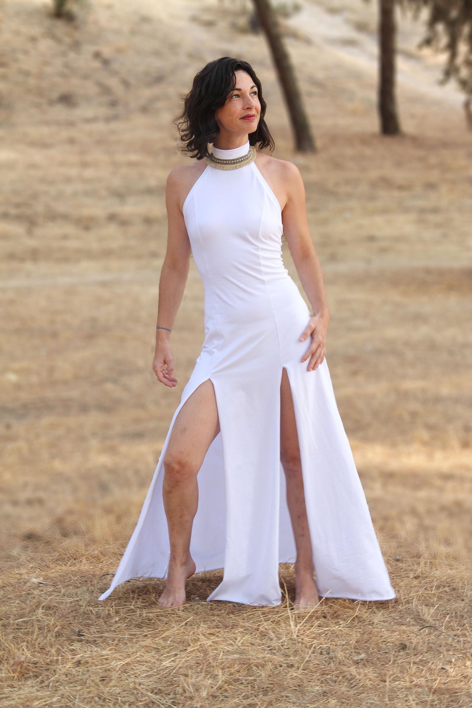 Oshin Boho Kleid Hochzeit Maxikleid Weißes Langes Kleid