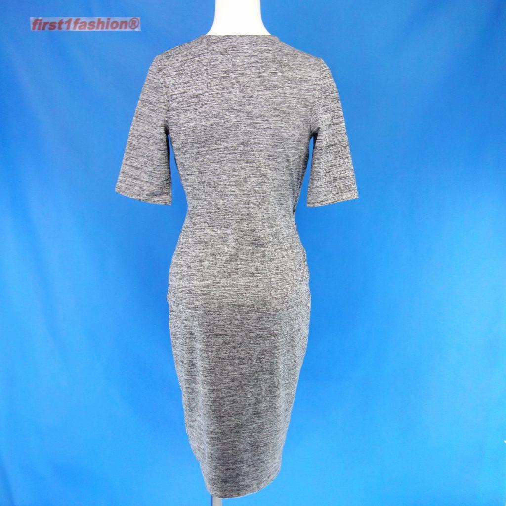 Oui Damen Kleid 57224 Gr 36 Grau Meliert Wickelkleid Optik