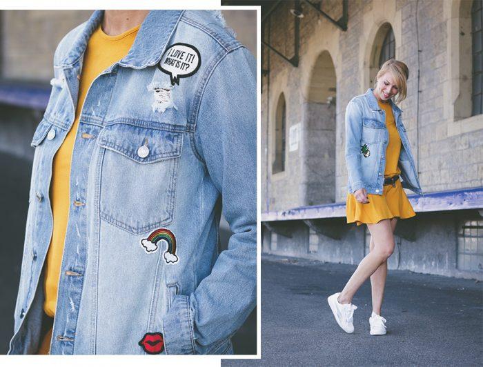 Outfit Kleid Senfgelb Jeansjacke Mit Patches Puma Basket