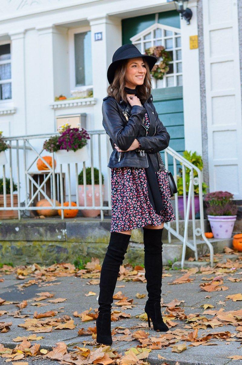 Outfit Petite Fleur  Blumenkleid  Zara Overknee Boots