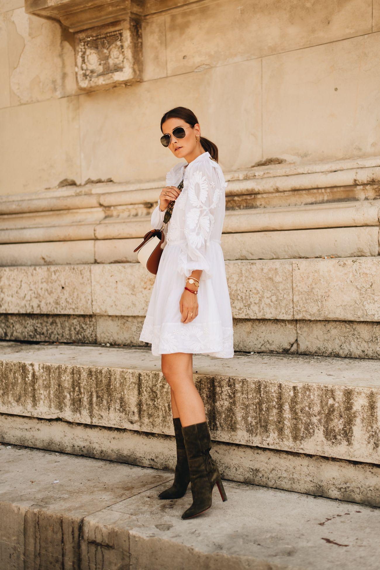 Outfit Weißes Sommerkleid Mit Bally Saddle Bag  Santoni