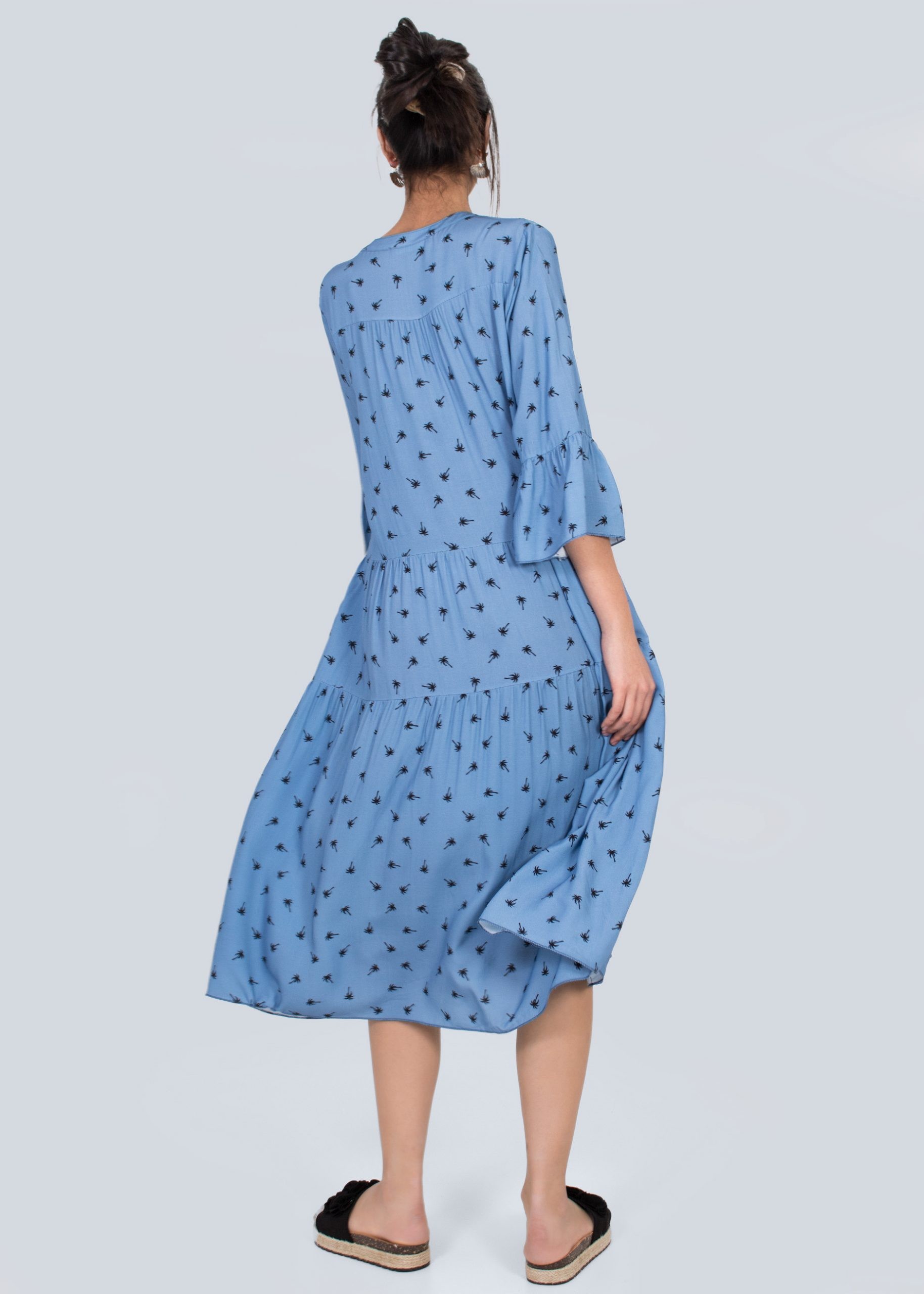 Oversize Maxikleid Mit Palmenprint Blau  Kleider