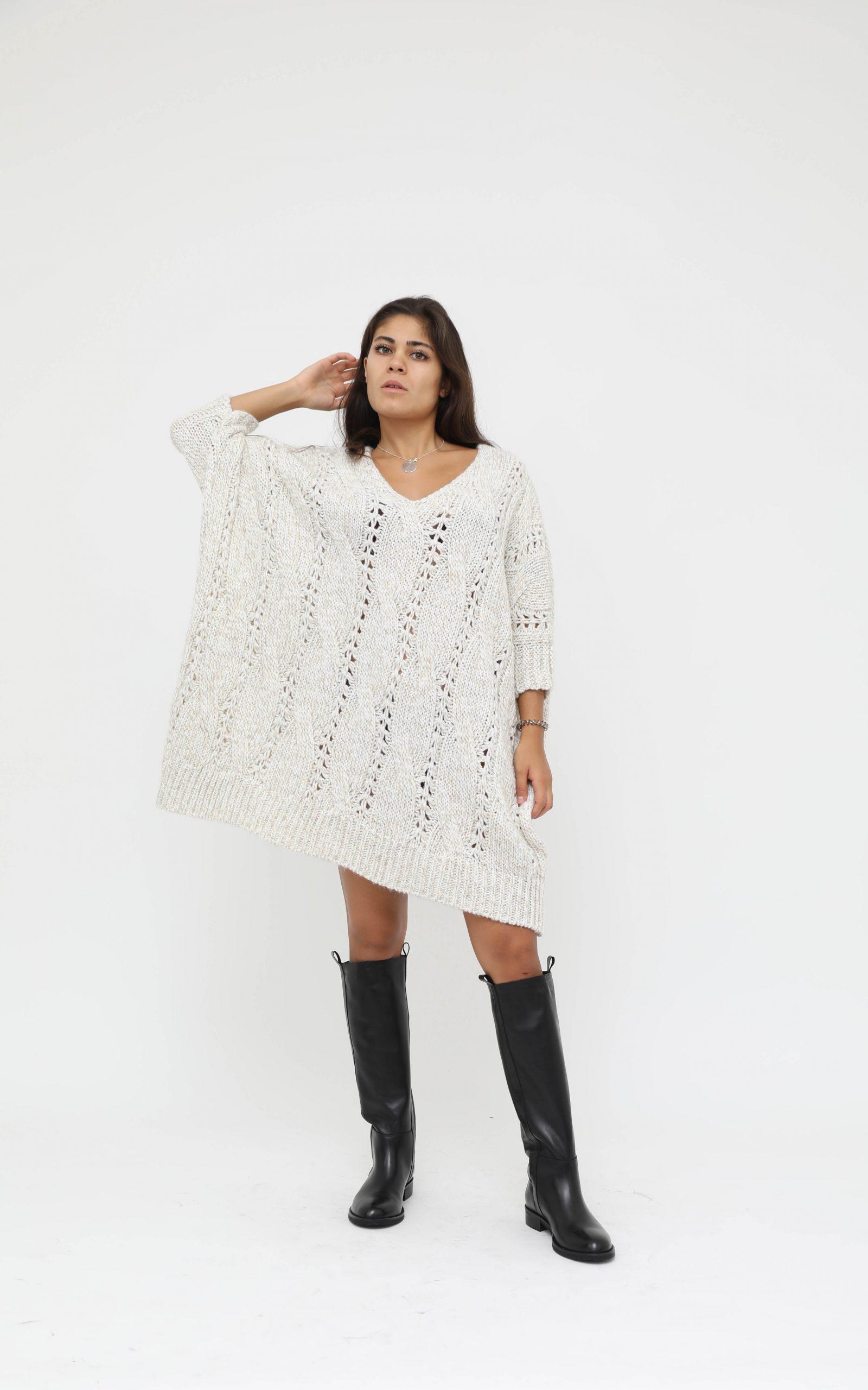 Oversized Strickkleid  Beige