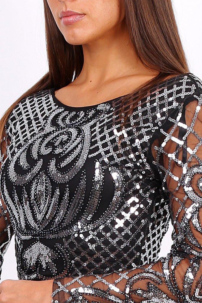 Paillettenkleid  Samira  Silber  Affingosde