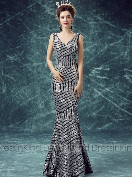 Paillettenkleid Silber Lang