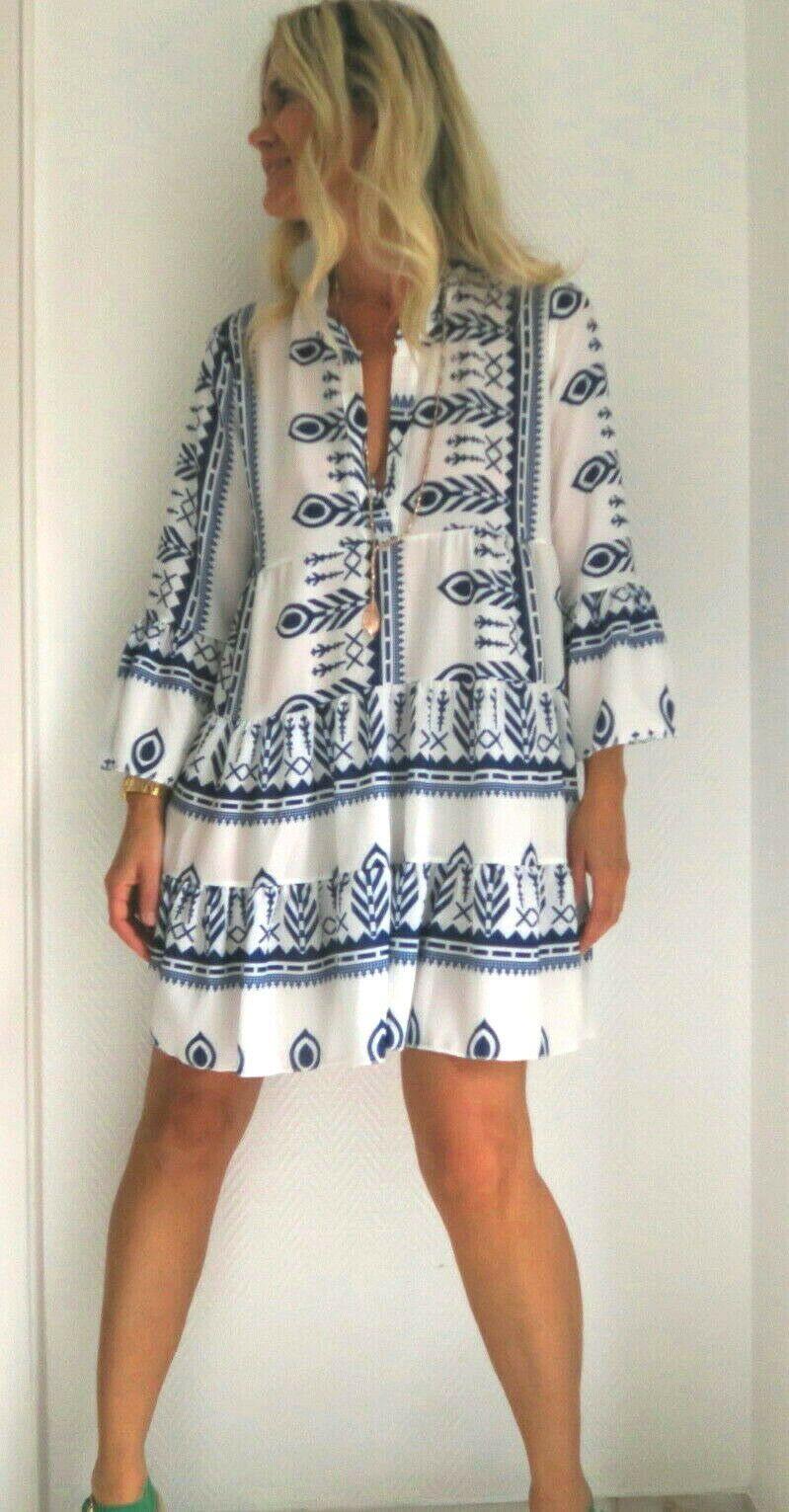 Pali Ikat Navajo Print Boho Tunic Dress In Beige Blue