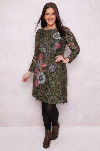 Paprika Khaki  Multi Lacey Overlay Floral Print Dress
