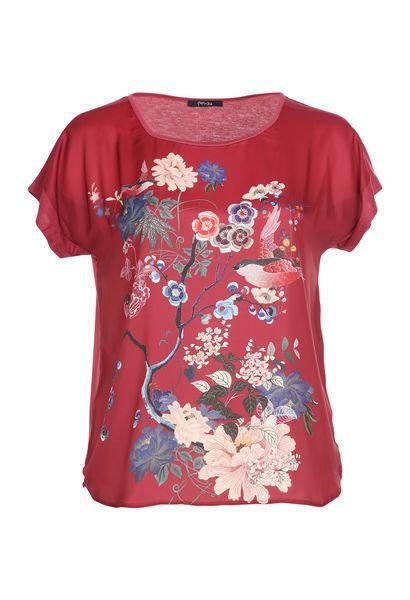 Paprika Shirt Mit Japanischem Blumenmuster Große Größen