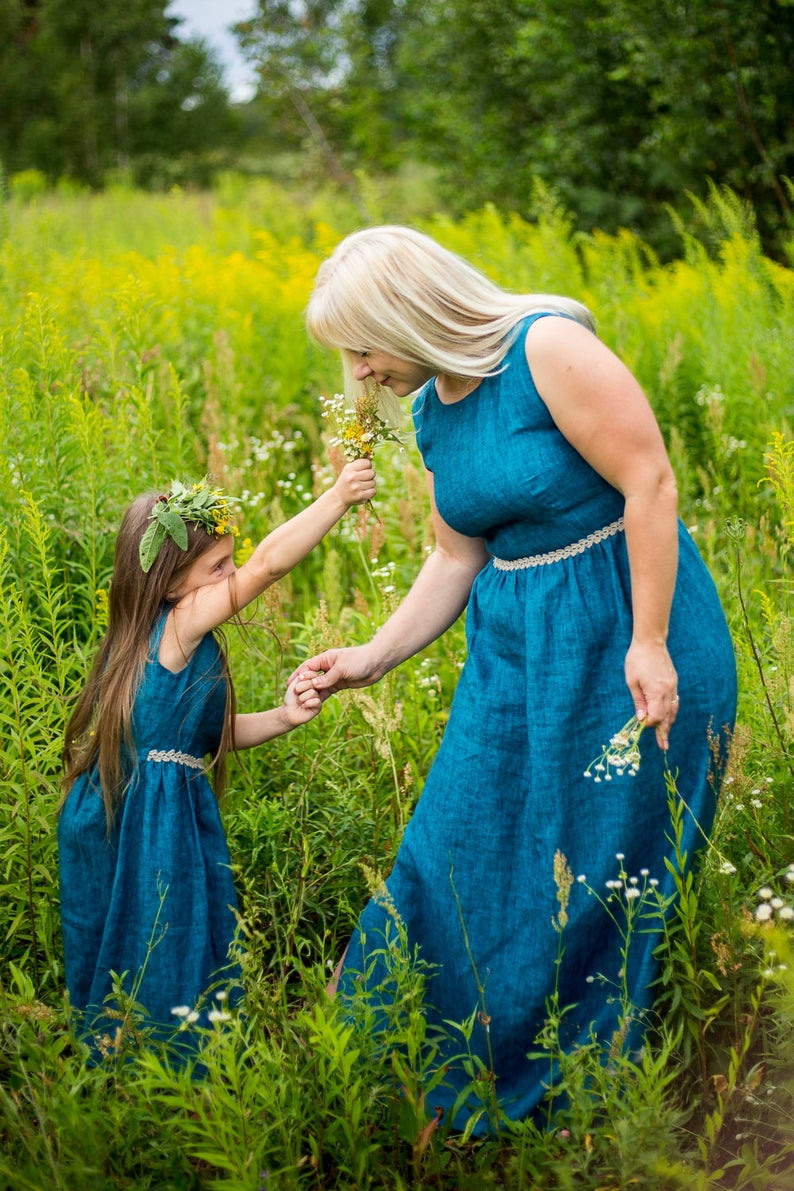 Passende Mutter Und Tochter Leinen Kleider Leinen Kleid