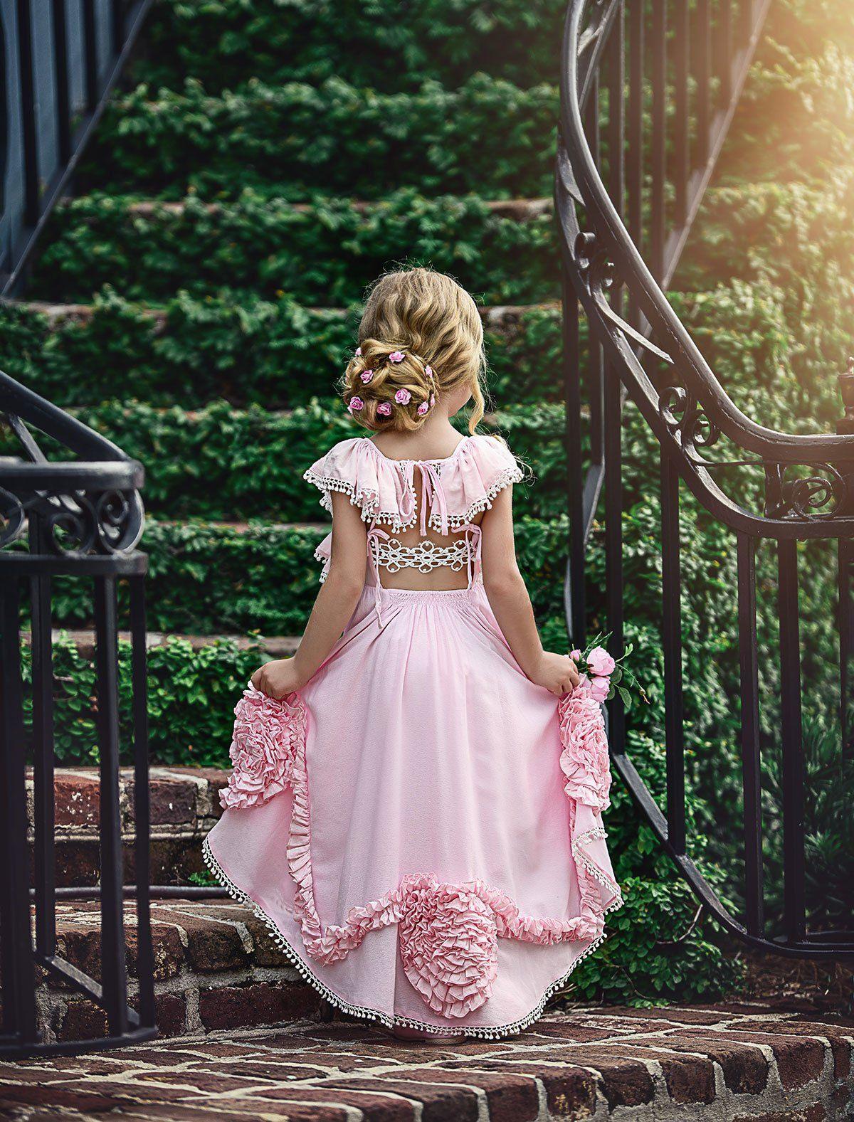 Peacock Dress Pink 1  Kinder Kleider Festliche
