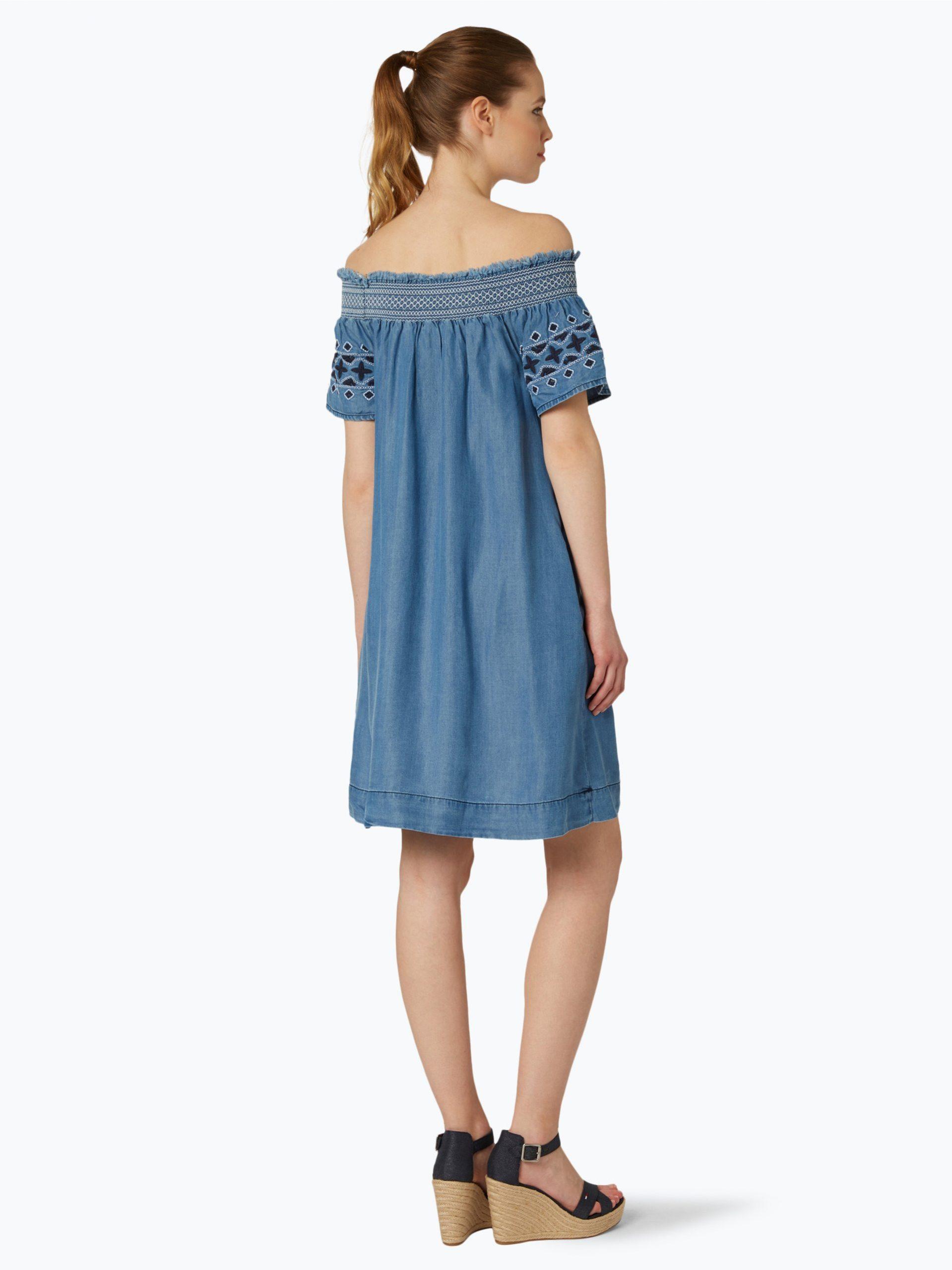 Pepe Jeans Damen Kleid  Olive Weiß Uni Online Kaufen