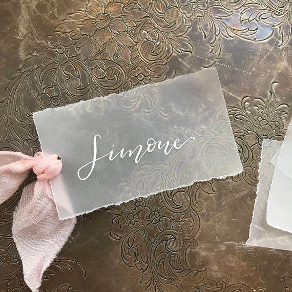 Pergament Tischkarten Personalisierte Tischkarten Hochzeit