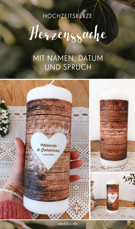 Personalisierte Hochzeitskerze Mit Spruch In Vintage