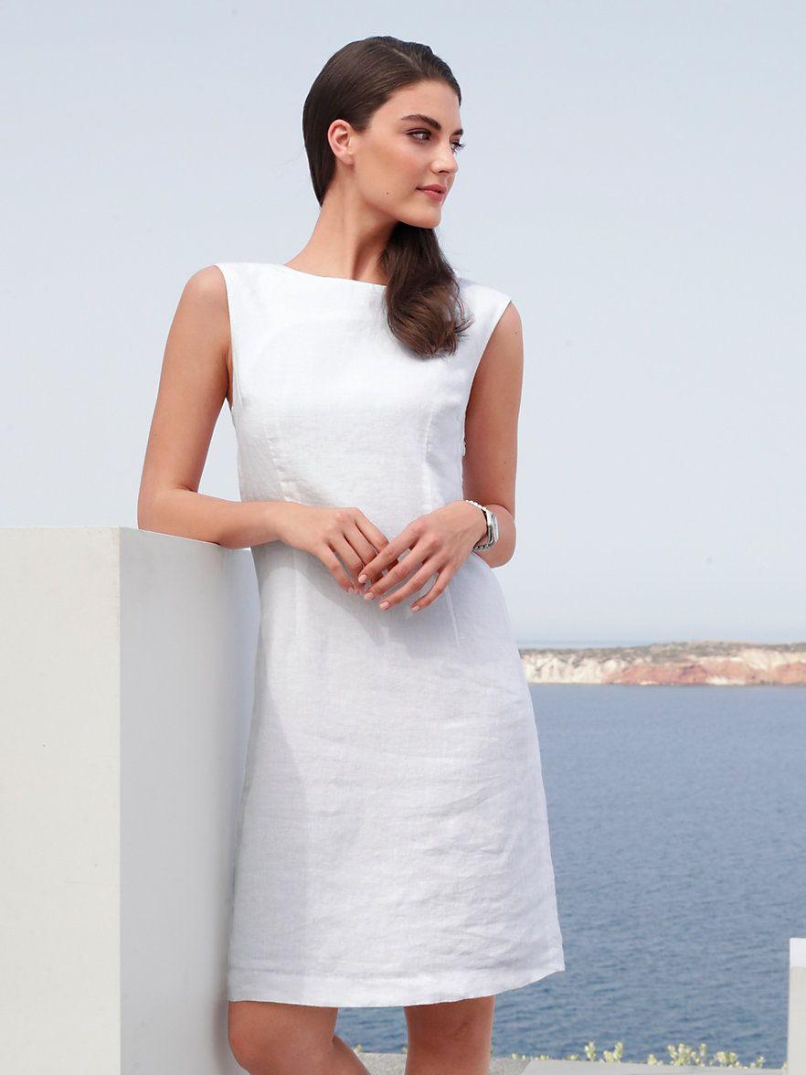 Peter Hahn  Ärmelloses Kleid Aus 100 Leinen  Weiß