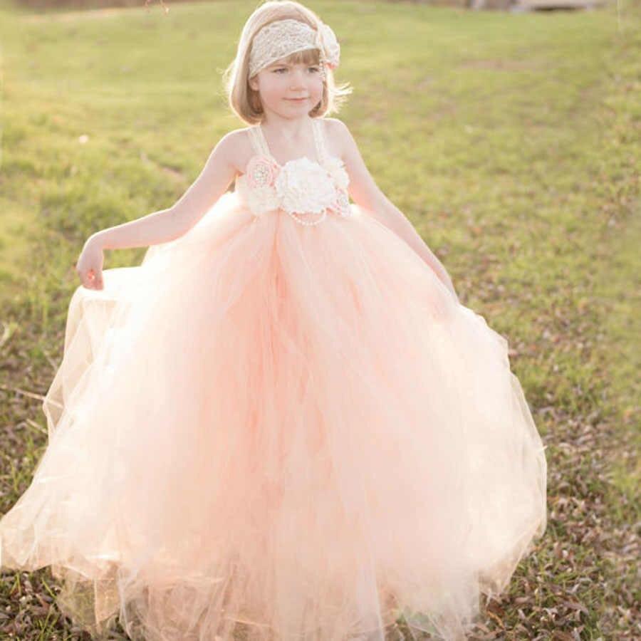 Pfirsich Und Elfenbein Blume Mädchen Kleid Kinder Spitze