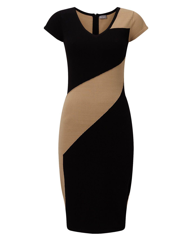 Phase Eight Clariss Block Knit Dress Black  Kleidung Für