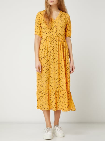 Pieces Kleid Mit Floralem Muster Modell 'Nimma' In Gelb