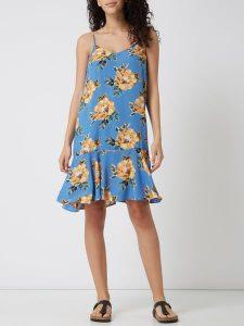 Pieces Kleid Mit Floralem Muster Modell 'Nya' In Blau