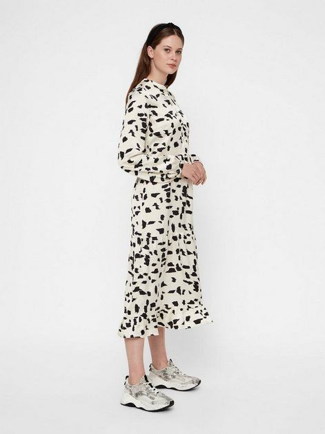 Pieces Lange Leoparden Kleid Lange Ärmel Online Kaufen In