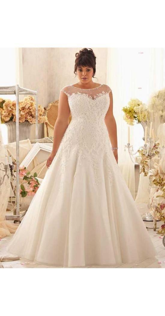 Pin Von Le Mo Auf Hochzeit  Brautkleid A Line Plus Size