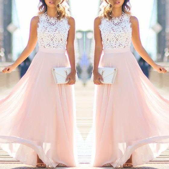 Pink Bridesmaid Lace Draped Sleeveless Flowy Beach