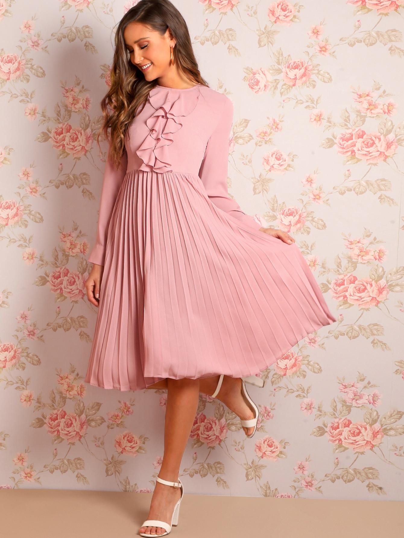Pink Rüschen Einfarbig Casual Kleider  Shein