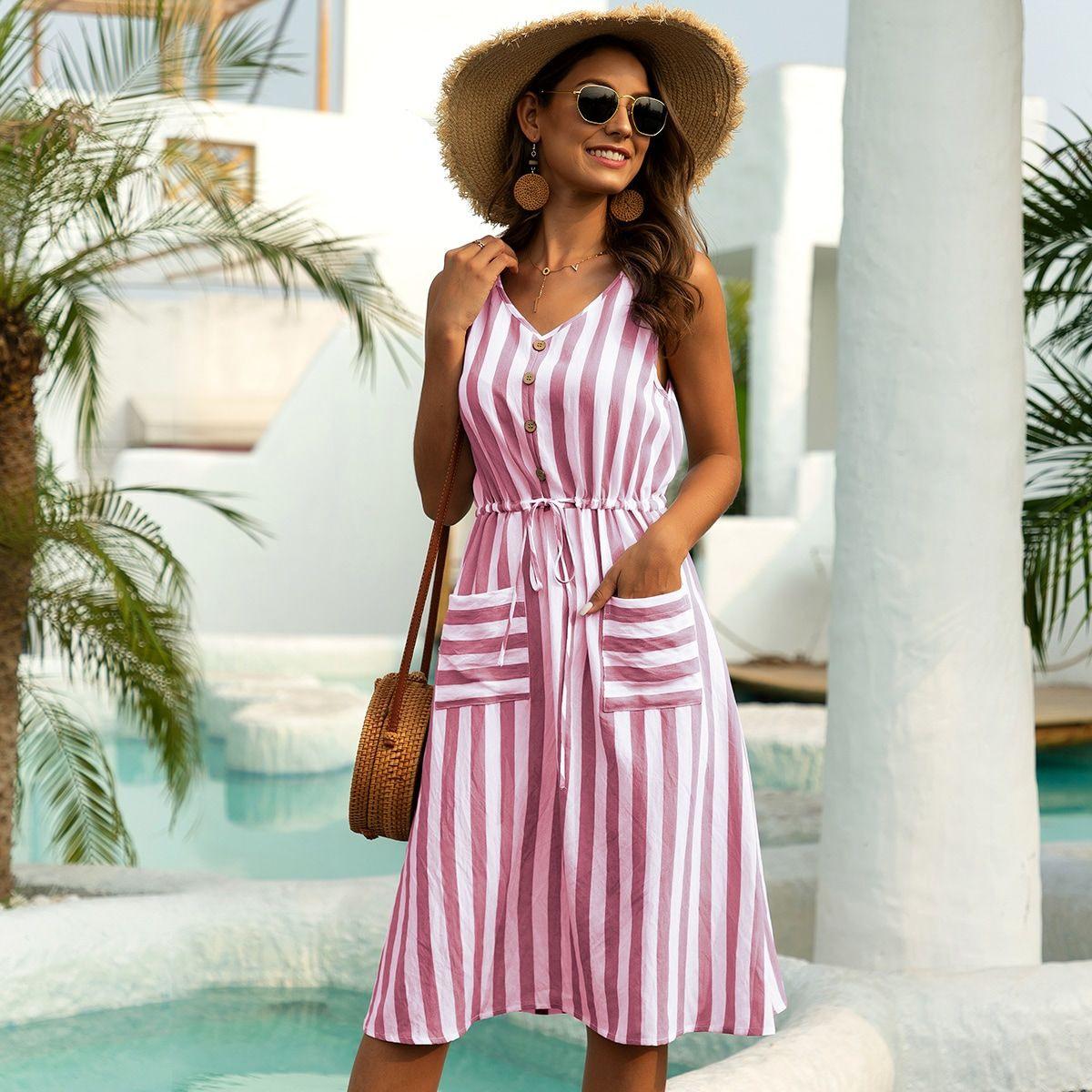 Pink Taschen Gestreift Böhmisch Kleider In 2020  Kleider