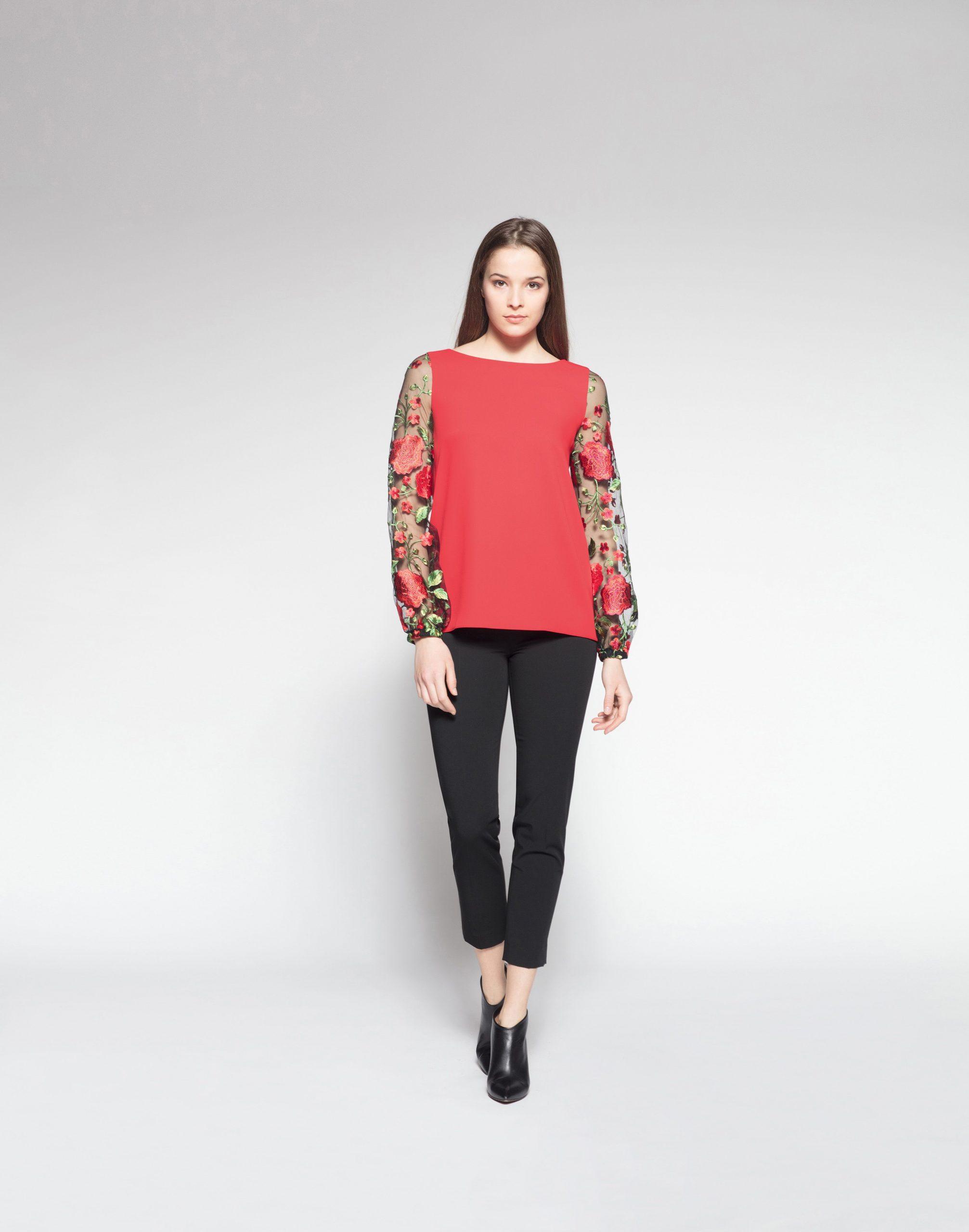 Piu  Piu Winter 2018 Bluse Rot Blüten Transparent Mit