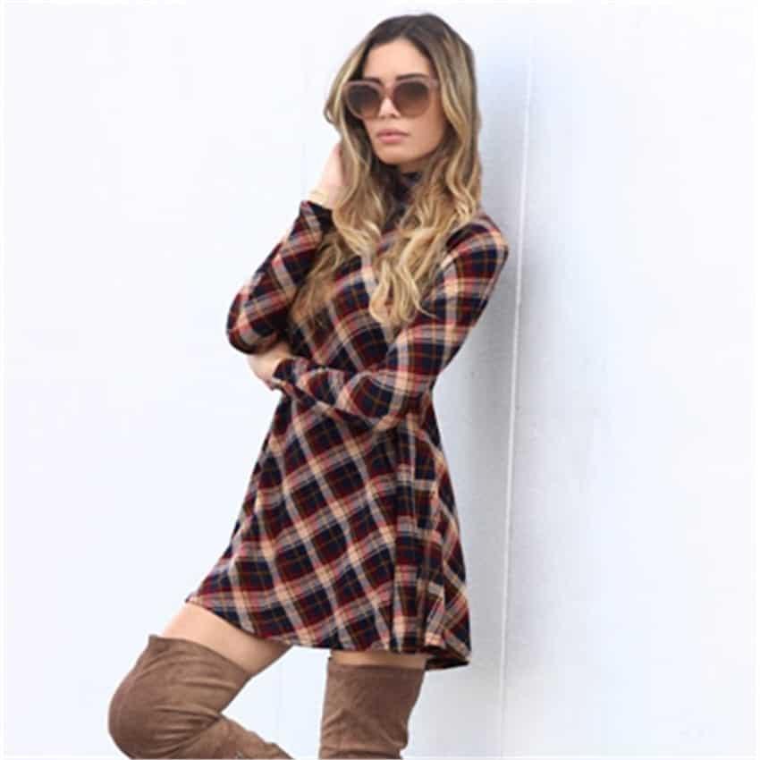 Plaid Flannel Women Dresses Long Sleeve  Rhalyn's