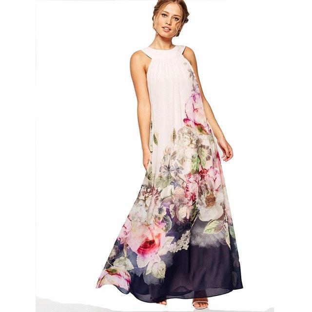 Plain Lange Maxi Kleider Sommer  Beliebte Kurze Kleider