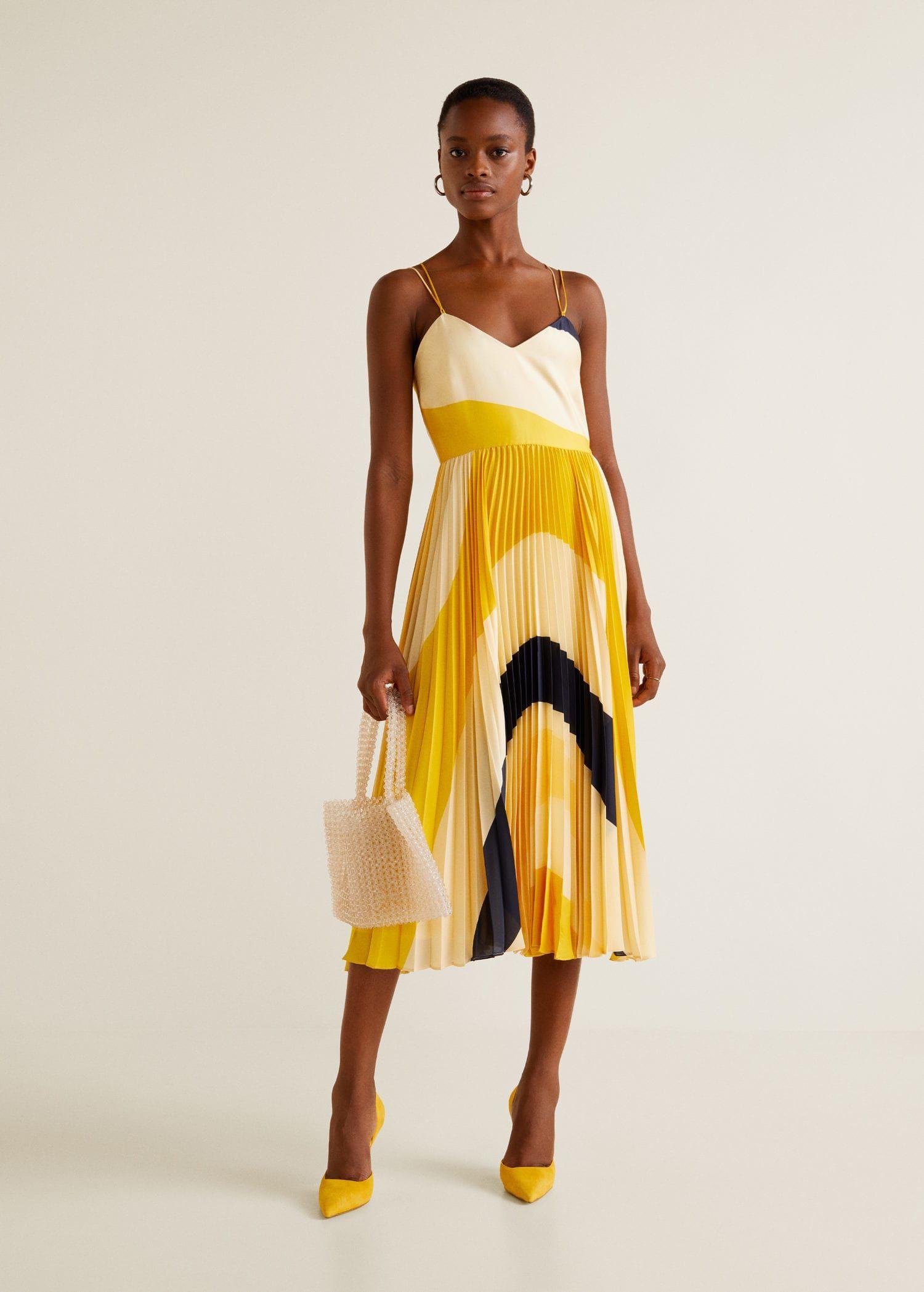 Plissee Kleid Gelb  Mode Gehen