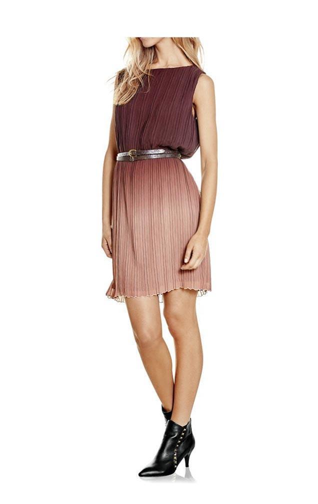 Plisseekleid Bordeaux  Kleider  Outlet Modeshop