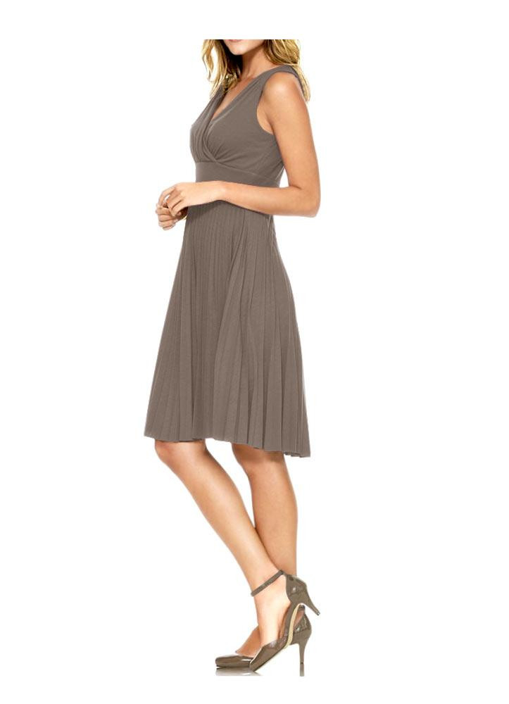 Plisseekleid Taupe  Kleider  Outlet Modeshop