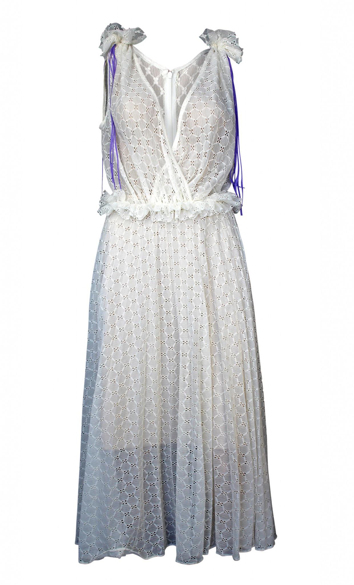 Plissiertes Broderie Anglaise Kleid Aus Viskose