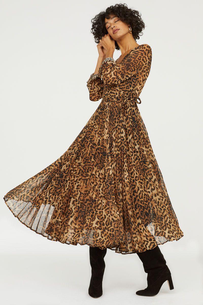 Plissiertes Kleid  Braun/Leopardenmuster  Damen  Hm De
