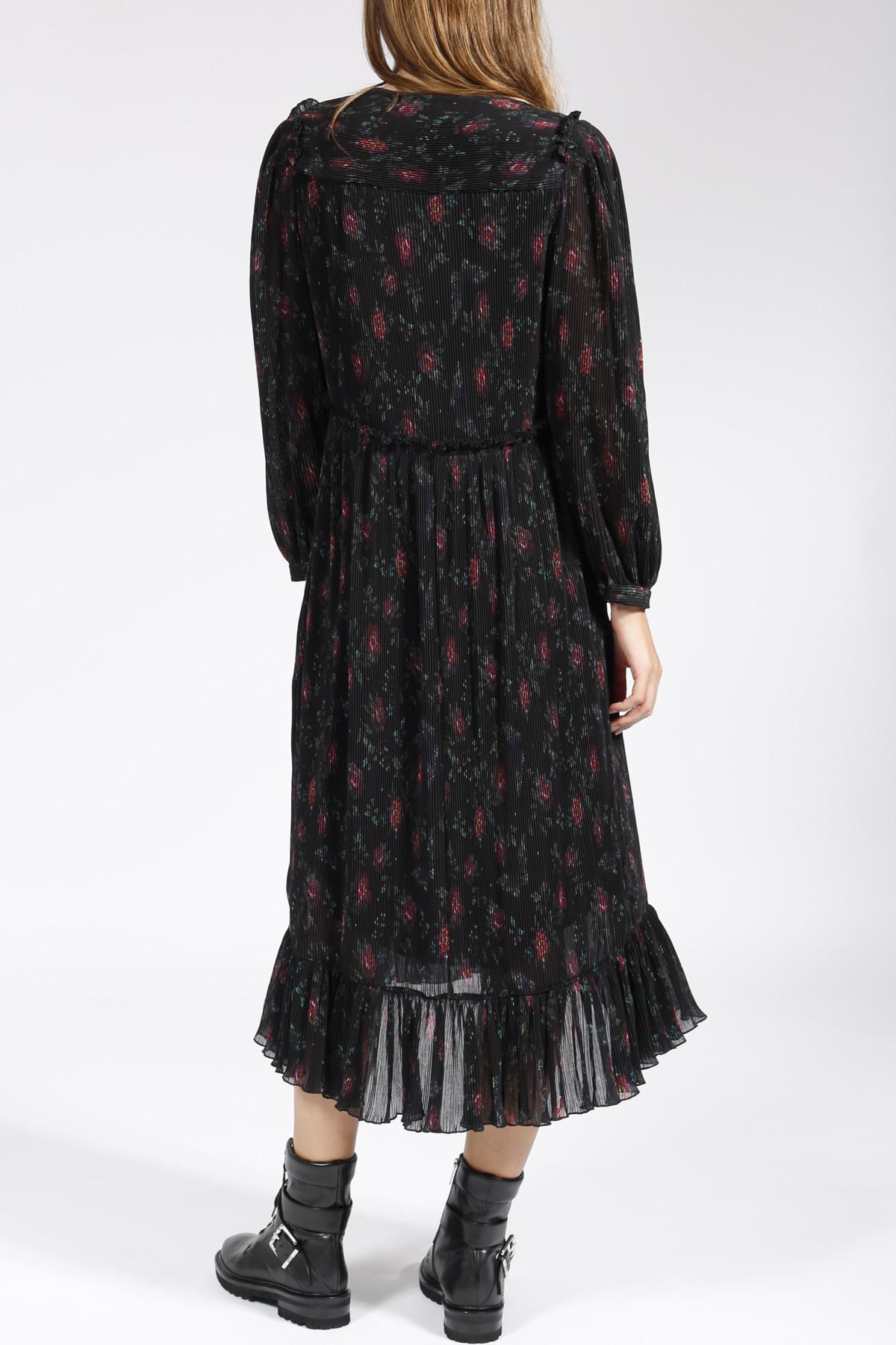 Plissiertes Kleid Doreen Mit Floralem Muster Schwarz