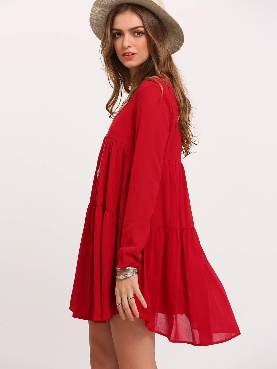 Plissiertes Kleid Langarm Mit Vausschnitt  Rot  Shein