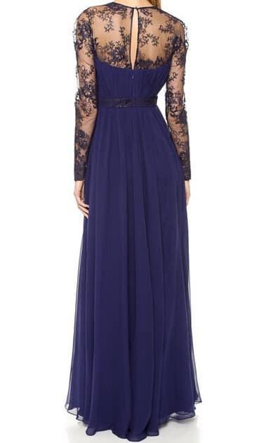 Plissiertes Kleid Mit Vausschnitt Und Netzspitzeblau  Shein
